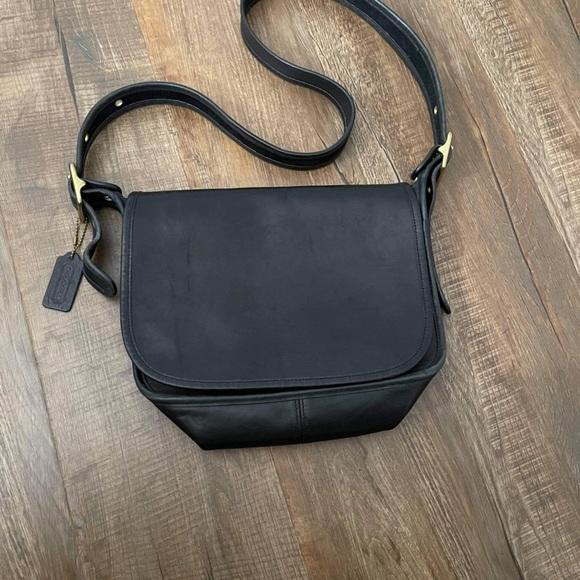 Coach Black Leather Flap Over Shoulder Bag